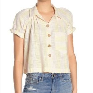 NWT Free People Yellow Woven Crop Top with Buttons